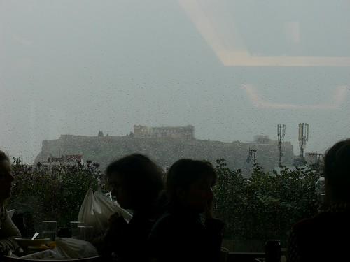 the acropolis in the rain