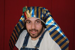 Happyjoel in Pharaoh Hat (happyjoelmoss) Tags: silly classic hat beard moss funny snake joel stripes awesome egypt egyptian overalls pharaoh pharoah levinson pharoh happyjoel
