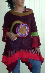 Whimsicle burgundy tunic (brendaabdullah) Tags: fashion clothing oneofakind womens tops ecofriendly deconstructed reconstructed tunic knitwear pieced diyfashion recycledsweaters sustainablestyle indiefashion restyled ecoconscious brendaabdullah