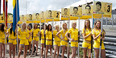 2011-05-15 DTM 2011 Zandvoort Grid Girls (Qsimple, Memories For The Future Photography) Tags: auto show girls people sexy sports netherlands smile car sport yellow female race geotagged grid drive women automobile pretty track power audience walk crowd young engine fast competition racing event blond blonde motor cheer spectators sporting dtm geel racinggirl zandvoort racer motorsport pitbabes pitbabe deutschepost gridgirls 2011 northholland racingqueen promogirl racegirl deutschentourenwagenmasters pitpoezen pitpoes camera:make=canon camera:model=canoneos400ddigital exif:make=canon exif:iso_speed=100 exif:focal_length=28mm geo:state=northholland exif:model=canoneos400ddigital geo:countrys=netherlands exif:lens=ef28105mmf3545usm exif:aperture=90 dtm2011 geo:city=zandvoort geo:lon=45403899 geo:lat=523890374