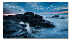 Godfreys Beach, Stanley, Tasmania (Matthew Stewart | Photographer) Tags: ocean blue sea seascape black beach water rock clouds sunrise sand rocks matthew australia stewart tasmania godfreysbeach