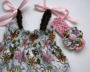 6-12mth Romper with matching flower headband **Clearance**