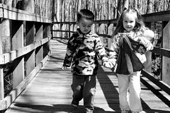 BW Together aweeee (dreawood) Tags: wood friends white black shadows holdinghands toddlers holdhands ringsling