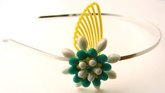 White, Green and Yellow Vintage Flowers Headband