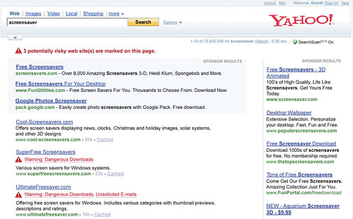 yahoo has new safe search advisories on serps