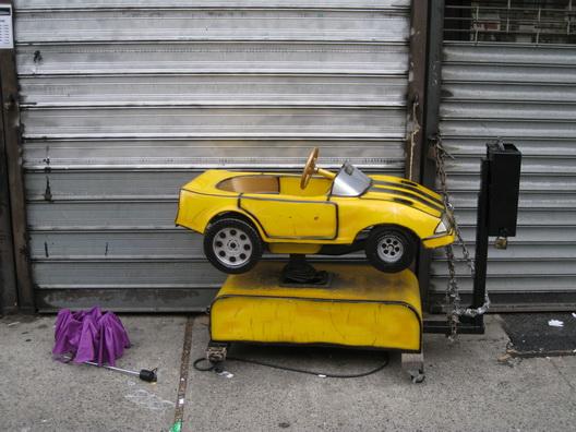 Yellow Car Purple Umbrella
