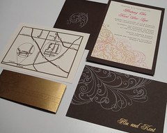 Wedding Invitations - Hiu and Kent (UglyKitty) Tags: pink party brown gold map handmade metallic ivory gocco invitation swirl invite stationary rsvp weddinginvitation uglykitty screenprinted locoforgocco