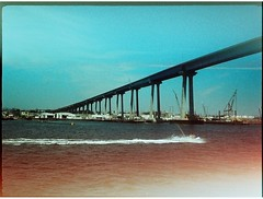 San Diego (vivoandando) Tags: ocean california bridge blue sea usa film pen bay harbor us lomo xpro lomography crossprocessed san experimental sandiego diego slide olympus crossprocessing filme 135 coronado expired 35 eb estadosunidos processo lomografia kodakelitechrome100 cruzado vencido