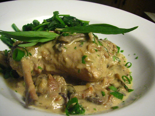 Rabbit with Tarragon, Mushroom and Dijon Cream Sauce