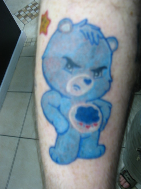 Colored Care Bears tattoo - Grumpy Bear!