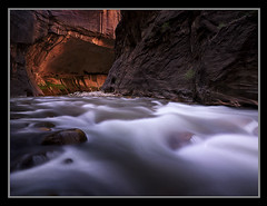 Holy Waters by Michael Anderson (AndersonImages) Tags: park sunset red usa motion southwest water rock digital america sunrise river michael utah waterfall movement glow united north canyon hasselblad virgin anderson national waterfalls medium format zion states wilderness slot narrows alcove silky michaelanderson canyoneering h2d