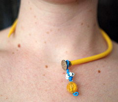 yellow needle necklace