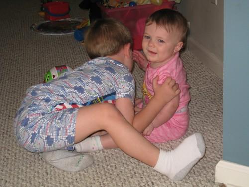 Big cousin hugs