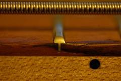 Against the Grain (aka*Travz) Tags: wood orange black macro sexy beautiful up metal bar silver neck interesting close wind guitar body stripes grain mother dot part micro string strings p