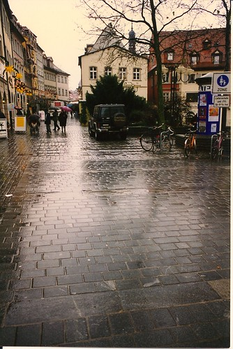 Europe 1996 r1 07 Bamberg, Germany - rainy Grünermarkt (Green Market) street in Altstadt (old city, downtown)