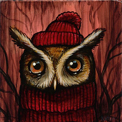 """Serious Knits"" (verpabunny) Tags: original painting acrylic serious knit owl srsly kellyvivanco threegracesgallery"