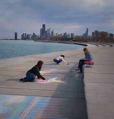 Three Girls with Chalk, Chicago, IL (Alexis Sweet Photography) Tags: city travel friends urban chicago tourism creativity illinois spring crafts photojournalism hobby lakemichigan lakeshore hobbies activities specialday