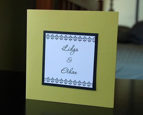 chartruese invite front, Chartruese wedding invititation front side, wedding invitation, flowers, photos