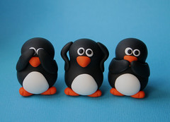 See no evil penguins (fliepsiebieps1) Tags: sculpture cute bird birds animal penguin see penguins three miniature handmade no speaknoevil seenoevil evil hearnoevil fimo clay kawaii figure trio figurine speak hear polymer