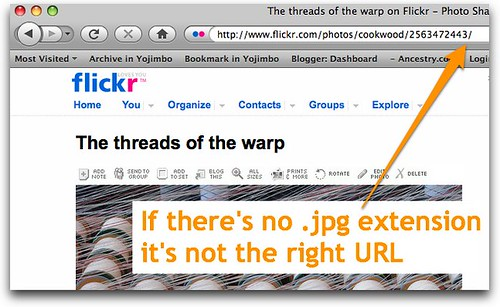 Blog Flickr finding the URL