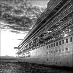 megamonochromatic (ecstaticist) Tags: bridge light sunset blackandwhite bw cloud reflection texture window water vancouver square island star harbor ship princess ripple balcony wave monochromatic victoria line casio deck lifeboat pointe ogden hdr criuse customs starprincess photomatix flamingpear tonemapped tonemapping spselection mrcontrast ogdenpointe aplusphoto exf1