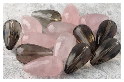 Smoky and rose quartz drops