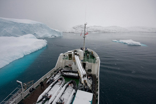 Cape Farewell expedition anchored next to Ilulissat Kangia icebergs