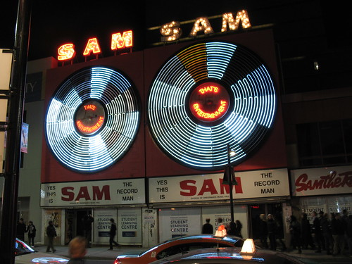 Lighting the Sam The Record Man Sign for the Last Time (2)