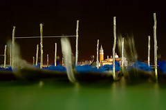 one night in venice (H o g n e) Tags: longexposure blue venice autumn italy black green fall water night italia explore gondola venezia adriatic sangiorgiomaggiore smoothwater explored bildekritikk pprowinner slikwater