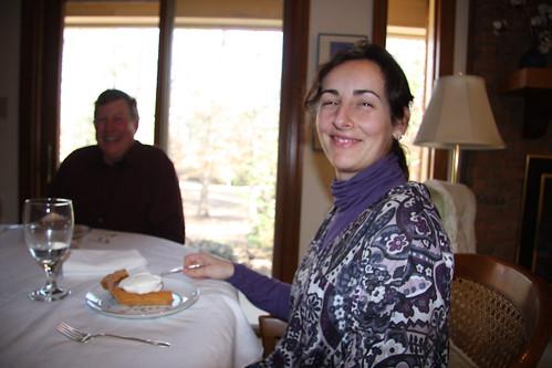 Marga happy with her slice of pumpkin pie