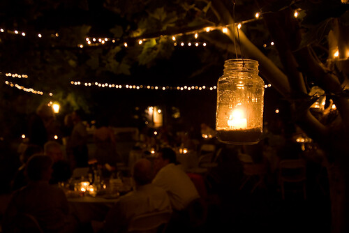 wedding backyard jar lights
