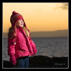 Taylor At Sunset (Peter&JaneBurns) Tags: sunset portrait seascape canon landscape island scotland photoshoot niece taylor arran ayrshire 40d theunforgettablepictures 430speedlite potencross