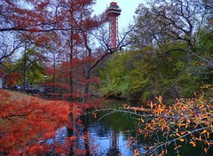 Color Explosion (JoWiJo) Tags: autumn trees color reflection tower fall water creek sixflags hdr sfot holidayinthepark top20texas bestoftexas