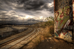 Tracks (rynofoto) Tags: canon graffiti losangeles traintracks hdr lariver