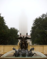 the tower in the fog (xgray) Tags: morning trees color tower fountain statue fog digital canon austin campus eos 50mm prime university texas gray foggy universityoftexas 5d mainbuilding thetower littlefield littlefieldfountain mainmall ef50mmf14usm canoneos5d southmall