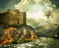 The Castle (jackals) Tags: old sun mountain castle art water alexandria digital design shiny hill egypt creepy fantasy dreamy grungy blueribbonwinner abigfave platinumheartaward rubyphotographer