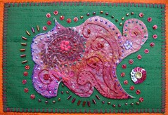 Detail Bollywood 3 (Karen Cattoire) Tags: original india abstract art glitter colorful paint handmade originalart silk creation fabric fiberart beading textileart bjp tissu abstrait karencattoire fibretextile arttexilte