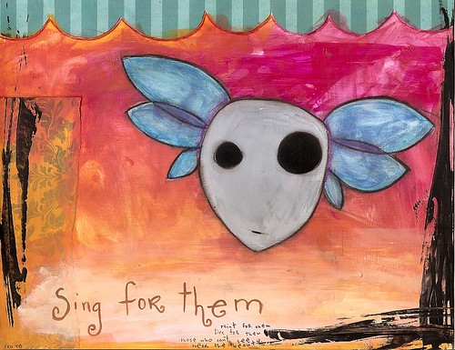 mixed-media art: sing for them