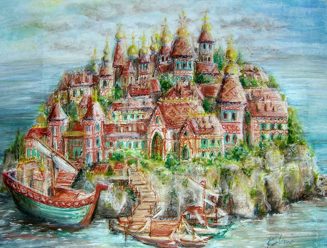 Pastel drawing for the New Year ---    in bed ! : an imaginary Kitezh