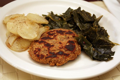 Chickpea Cutlet, Collards and Potatoes
