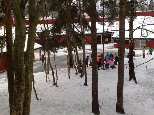 Children play in snow in Norway #1
