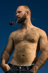 Smokin' (TroublePup) Tags: bear hairy fur beard cub furry nipple smoke chest pipe belly orso hairychest chacom ericnielsonphotocom