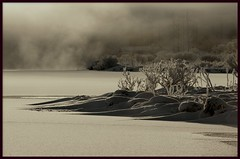 (oeiriks) Tags: winter lake snow ice sepia iceland steam laugarvatn golddragon sonyalpha350