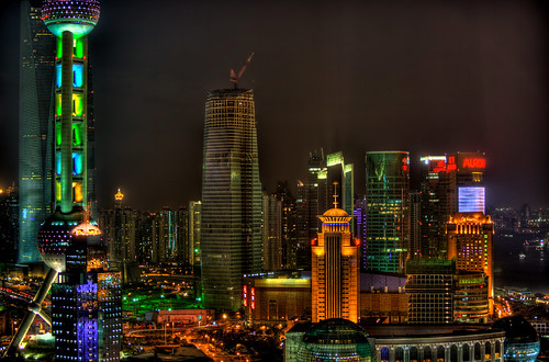Modern Shanghai at night