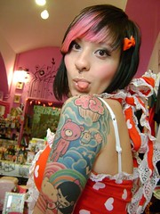 momiji (ladybastard_harajuku) Tags: bear pink red cloud cute girl tattoo hair vegan rainbow doll dolls gloomy heart gothic piercing momiji lolita cupcake bow kawaii piercings kokeshi tokidoki charuca kawaiitattoo