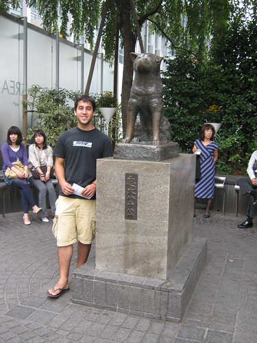Dave posing with the cutest, most loyal dog in Japan.