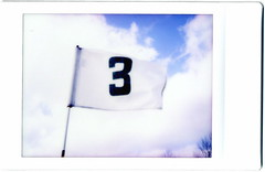 5 years... (golfpunkgirl) Tags: polaroid pin flag fujifilm cheki 3rdhole wintergolf instaxmini thereasonigolf