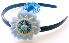 Blue and White Vintage Flowers Headband