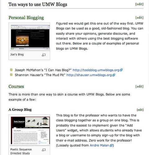 Image of 10 ways to use UMW Blogs wiki page