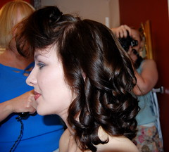 Mom was curling Morgan's hair, I was doing her makeup and Sara was taking pictures!